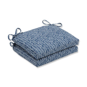 Outdoor / Indoor Herringbone Ink Blue Squared Corners Seat Cushion (Set of 2)