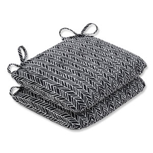 Outdoor / Indoor Herringbone Night Rounded Corners Seat Cushion (Set of 2)