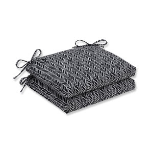 Outdoor / Indoor Herringbone Night Squared Corners Seat Cushion (Set of 2)