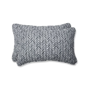 Outdoor / Indoor Herringbone Slate Rectangular Throw Pillow (Set of 2)