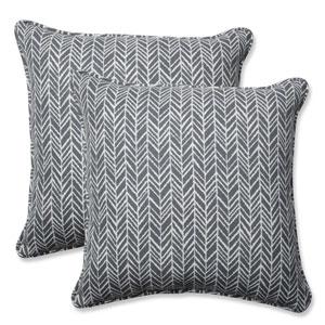Outdoor / Indoor Herringbone Slate 18.5-Inch Throw Pillow (Set of 2)