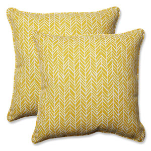 Outdoor / Indoor Herringbone Egg Yolk 18.5-Inch Throw Pillow (Set of 2)