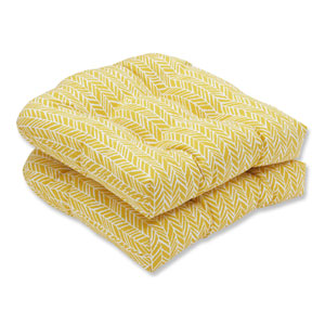 Outdoor / Indoor Herringbone Egg Yolk Wicker Seat Cushion (Set of 2)