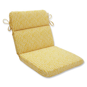 Outdoor / Indoor Herringbone Egg Yolk Rounded Corners Chair Cushion