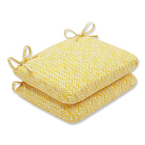 Outdoor / Indoor Herringbone Egg Yolk Rounded Corners Seat Cushion (Set of 2)