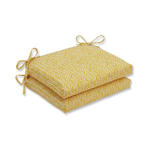 Outdoor / Indoor Herringbone Egg Yolk Squared Corners Seat Cushion (Set of 2)