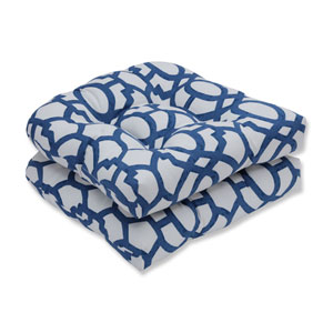 Outdoor / Indoor Nunu Geo Ink Blue Wicker Seat Cushion (Set of 2)