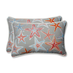 Outdoor / Indoor Stars Collide Pewter Rectangular Throw Pillow (Set of 2)