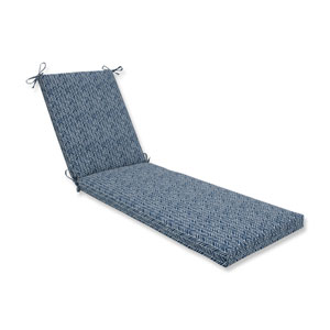 Outdoor / Indoor Herringbone Ink Blue Chaise Lounge Cushion 80x23x3