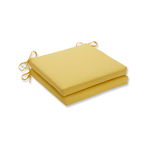 Fresco Solids Yellow Squared Corners Seat Cushion, Set of 2