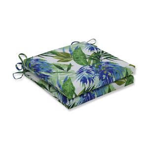 Soleil Blue/Green Squared Corners Seat Cushion, Set of 2