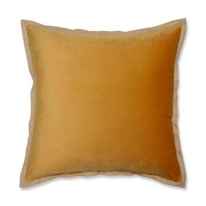 Velvet Flange Marigold Yellow 18-Inch Throw Pillow