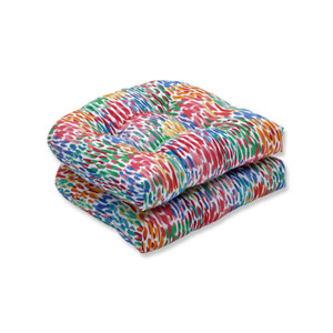 Make It Rain Zinnia Blue Wicker Seat Cushion (Set of 2)