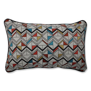 Indoor Basenji Tangerine Multicolored Rectangular Throw Pillow