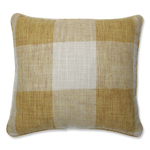 Indoor Check Please Sunshine Yellow 16.5-Inch Throw Pillow