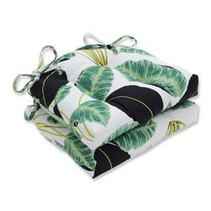 Indoor Hojas Cubanas Rainforest Black Reversible Chair Pad, Set of 2