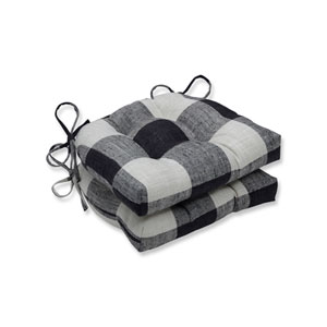 Indoor Check Please Thunder Black Reversible Chair Pad, Set of 2
