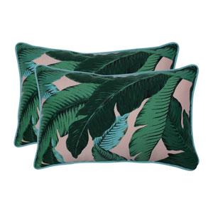 Swaying Palms Capri Blue Rectangular Throw Pillow (Set of 2)