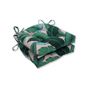 Swaying Palms Capri Blue Reversible Chair Pad (Set Of 2)