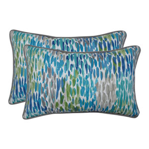Make It Rain Cerulean Blue Rectangular Throw Pillow (Set of 2)