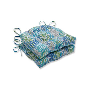 Make It Rain Cerulean Blue Reversible Chair Pad (Set of 2)
