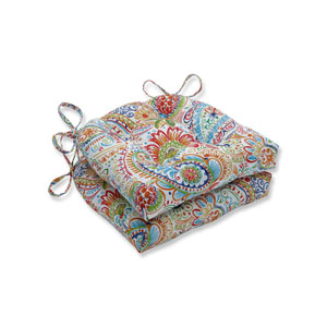 Gilford Festival Blue Reversible Chair Pad (Set of 2)