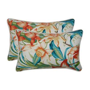 Botanical Glow Tiger Lily Blue Rectangular Throw Pillow (Set of 2)