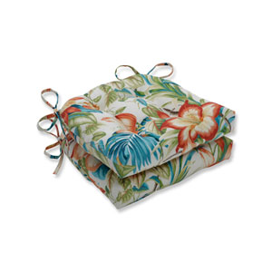 Botanical Glow Tiger Lily Blue Reversible Chair Pad (Set of 2)