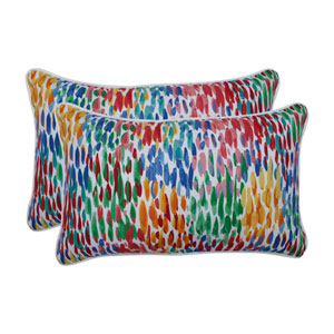 Make It Rain Zinnia Blue Rectangular Throw Pillow (Set of 2)