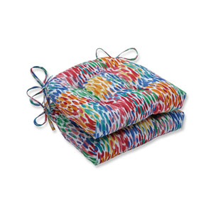 Make It Rain Zinnia Blue Reversible Chair Pad (Set of 2)