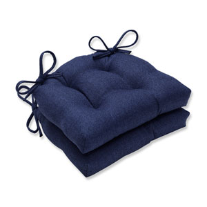 Indoor Sonoma Navy Reversible Chair Pad- Set of 2