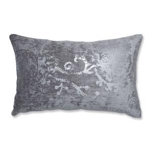 Indoor Metallic Suzani Gunmetal Rectangular Throw Pillow