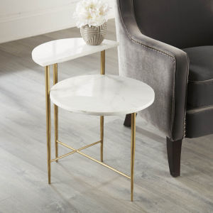 Patna White and Brass Marble Top Accent Table