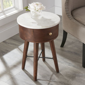 Bangalore White and Brown Cherry Round End Table