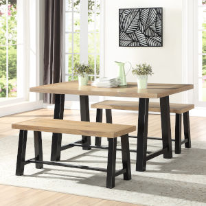 Burnell Waxed Honey And Ebony  Dining Set, 3-Piece