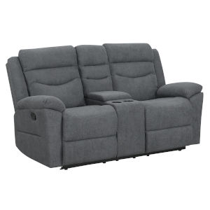 Chenango Dark Gray Upholstery Manual Motion Loveseat with Console