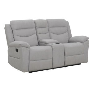 Chenango Light Gray Upholstery Manual Motion Loveseat with Console