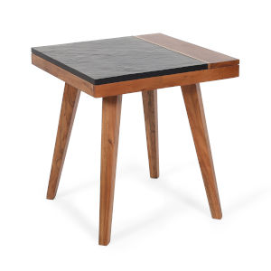 Caspian Black and Natural Square End Table