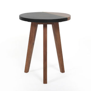 Caspian Black and Natural Round End Table