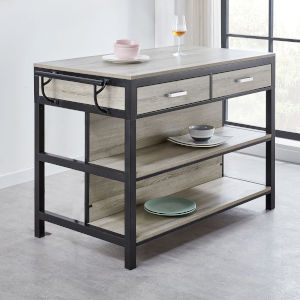 Carson Driftwood and Silver Counter Height Kitchen Table