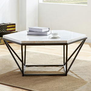 Corvus White and Coffee Marble Top Cocktail Table