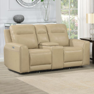 Doncella Sand Power Reclining Console Loveseat