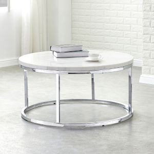 Echo White and Chrome Cocktail Table