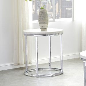 Echo White and Chrome Round End Table