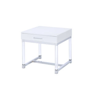 Everett White And Chrome 24-Inch End Table
