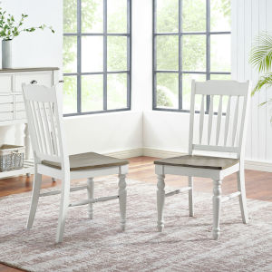 Giles Ivory and Cocoa Side Chair, Set of 2