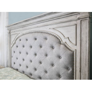 Highland Park Distressed Rustic Ivory King Headboard
