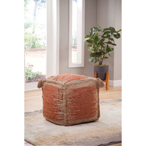 Jafar Rust and Khaki Square Handwoven Jute Pouf