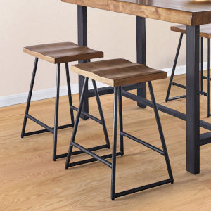Landon Natural Honey and Black Counter Stool, Set of 2