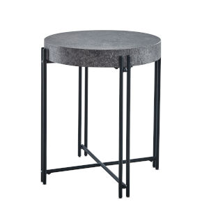 Morgan Mottled Gray and Black Iron base End Table
